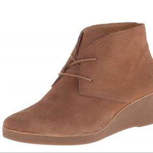 Lucky Brand Leather Wedge Ankle Boots Tan 8.5M